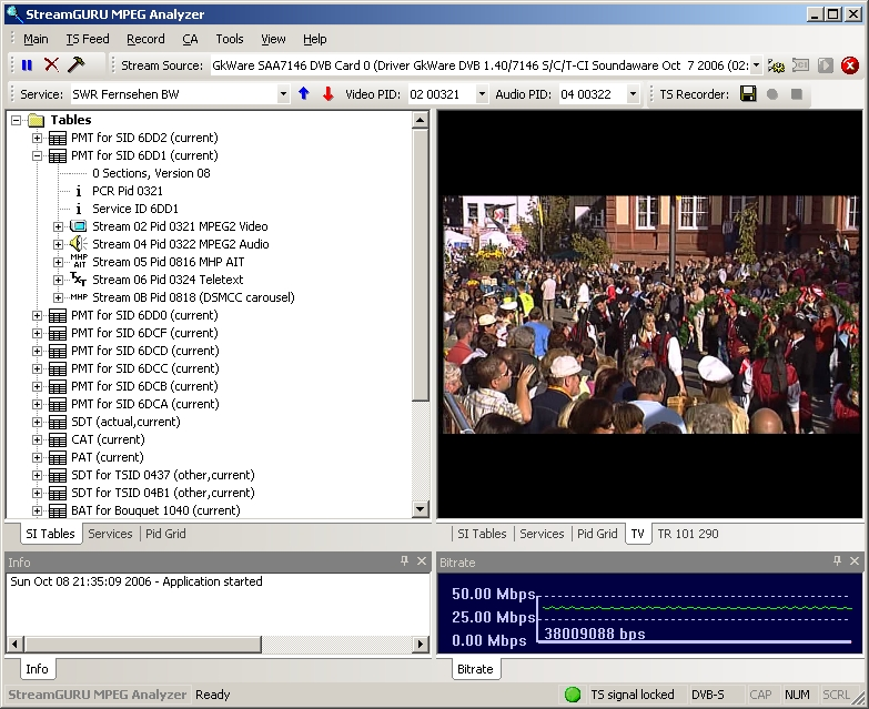 StreamGuru MPEG & DVB Analyzer Screen shot
